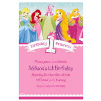 Disney Princess 1st Birthday Custom Invitation