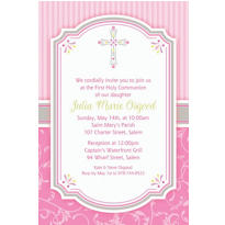 Pink Communion Blessings Custom Invitation