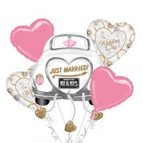 Just Married Wedding Balloon Bouquet 5pc