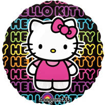 Foil Neon Hello Kitty Balloon 31in