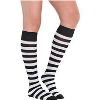 Black and White Striped Knee Socks