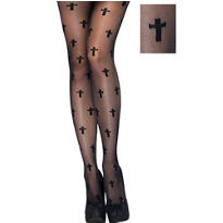 Adult Sheer Black Cross Pantyhose