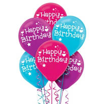 Latex Happy Birthday Balloons 12in 6ct
