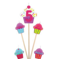 Number 5 Birthday Candle and Cupcakes 5ct