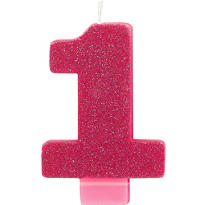 Number 1 Bright Pink Glitter Birthday Candle 3in
