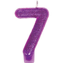 Number 7 Purple  Glitter Birthday Candle 3in