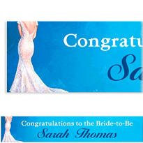 Bride in Gown Light Custom Bridal Shower Banner