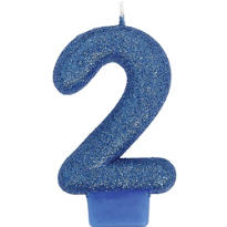 Number 2 Royal Blue Glitter Birthday Candle 3in