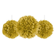 Gold Fluffy Decorations 3ct