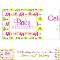 Baby Elephant Pattern Girl Custom Banner