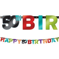 The Party Continues 50th Birthday Banner 7ft