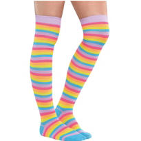 Neon Striped Over-the-Knee Socks