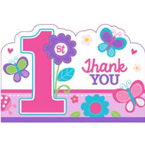 Sweet Girl 1st Birthday Thank You Notes 8ct