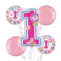 1st Birthday Balloon Bouquet 5pc - Sweet Girl