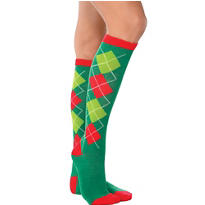 Holiday Argyle Knee-High Socks
