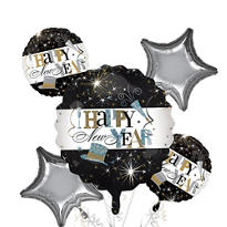 Happy New Year Balloon Bouquet 5pc - Elegant Celebration