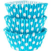Caribbean Blue Polka Dot Baking Cups 75ct