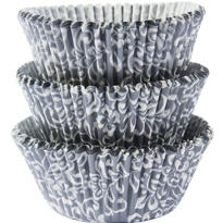 Silver & White Scroll Baking Cups 75ct
