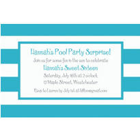 Caribbean Blue Cabana Stripe Custom Invitation