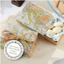 World Map Favor Boxes