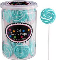 Swirly Robin's Egg Blue Lollipops 24pc