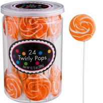 Swirly Orange Lollipops 24pc