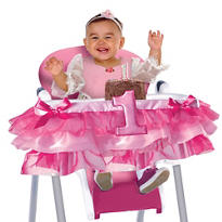 Deluxe Pink 1st Birthday High Chair Tutu