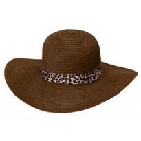 Leopard & Brown Floppy Straw Hat