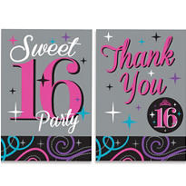 Celebrate Sweet 16 Invitations & Thank You Notes for 10