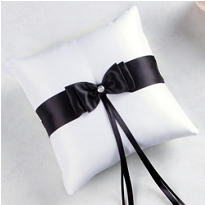 Black Bow Ring Bearer Pillow