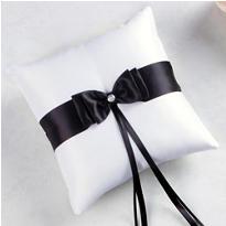 Black Bow Ring Bearer Pillow