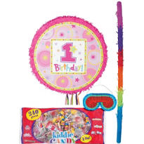Pull String Round Pink 1st Birthday Pinata Kit