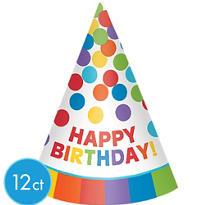 Rainbow Happy Birthday Party Hats 12ct