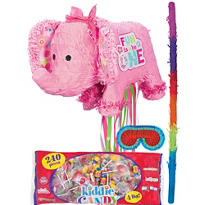 Pull String 1st Birthday Pink Elephant Pinata Kit