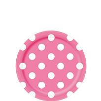Bright Pink Polka Dot Dessert Plates 8ct