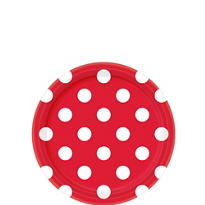 Red Polka Dot Dessert Plates 8ct