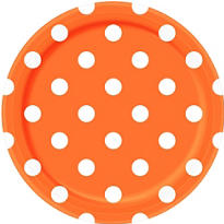 Orange Polka Dot Lunch Plates 8ct