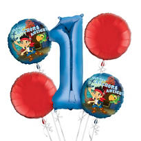 Jake and the Never Land Pirates 1st Birthday Balloon Bouquet 5pc