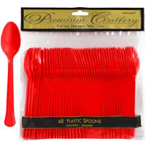Red Premium Plastic Spoons 48ct