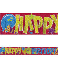 Balloon Happy Birthday Fringed Banner 5ft
