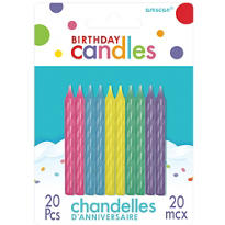 Multicolored Spiral Birthday Candles 2in 20ct