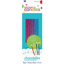 Assorted Sparkling Glitter Birthday Candles 7in 18ct