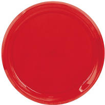 Plastic Red Swirl Platter 16in