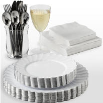 White Premium Scalloped Tableware