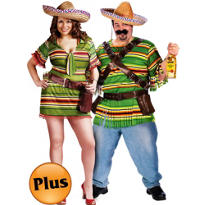 Plus Size Sexy Shooter and Plus Size Tequila Pop Dude Couples Costumes