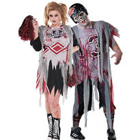 Plus Size Cheerleader and Football Zombie Couples Costumes
