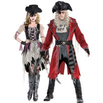 Adult Zombie Pirates Couples Costumes