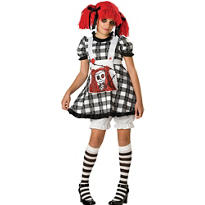 Girls Tragedy Anne Gothic Rag Doll Costume