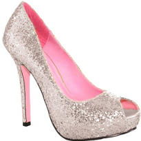 Silver Glitter Open-Toe Shoes