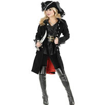 Adult Black Pirate Vixen Coat